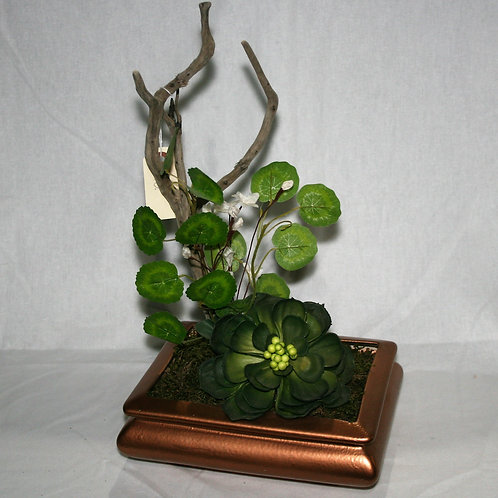 Copper Vase with Twig & Greenery