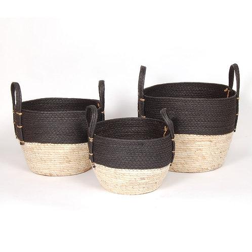 Black/Natural Straw Baskets - Set of 3
