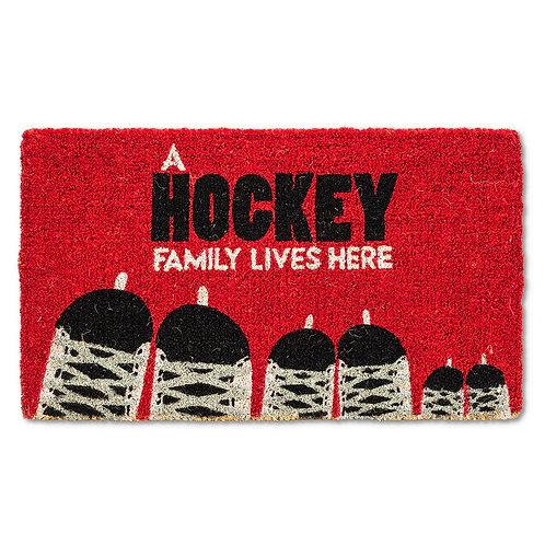 Hockey Family Lives Here Door Mat