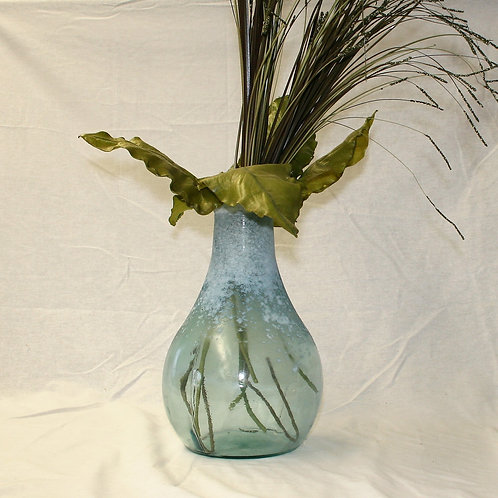 Blue Speckled Vase with Greenery