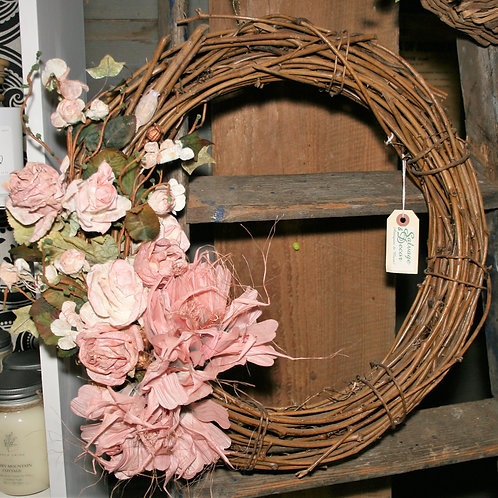 Wreath - With Rose Paper Flowers