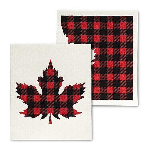 Buffalo Check Maple Leaf Swedish Dishcloths