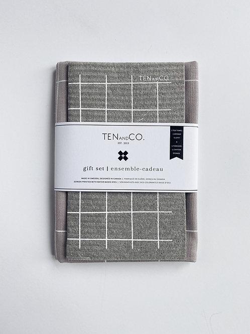 Ten & Co. Gift Set - Grid White on Warm Grey