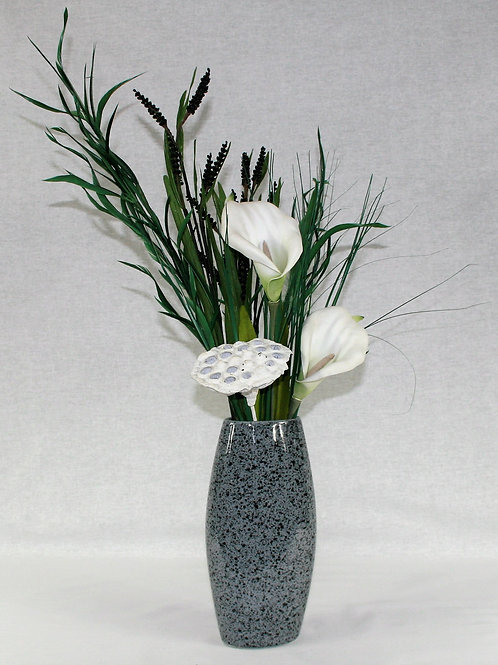 Gray Speckled Vase with White Flowers