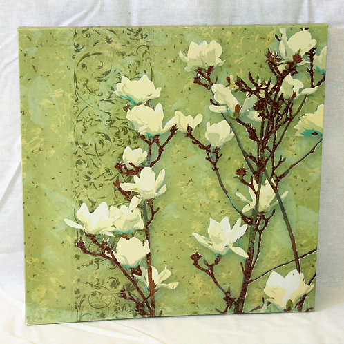 White & Green Floral