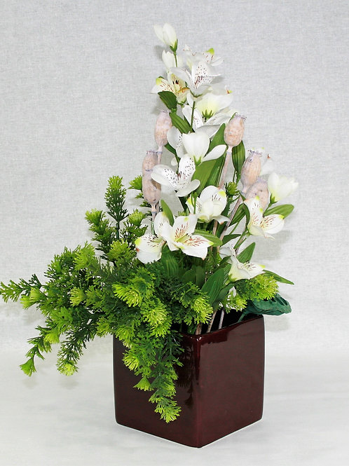Square Burgandy Vase with White Flowers