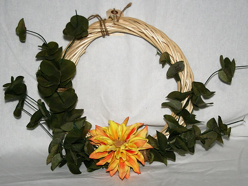 Wreath - Small with One Orange Flower