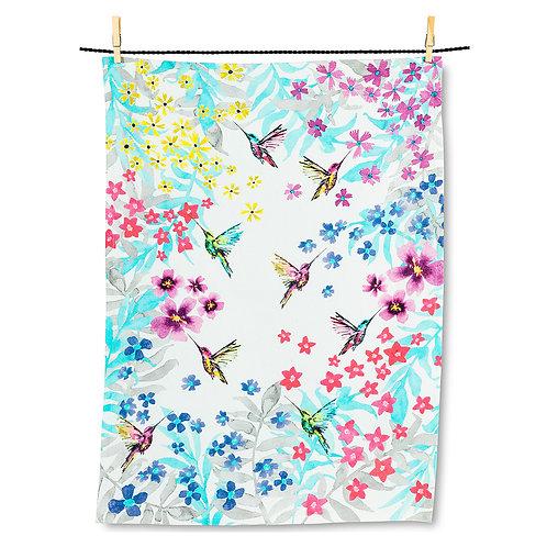 Hummingbird Garden Tea Towel