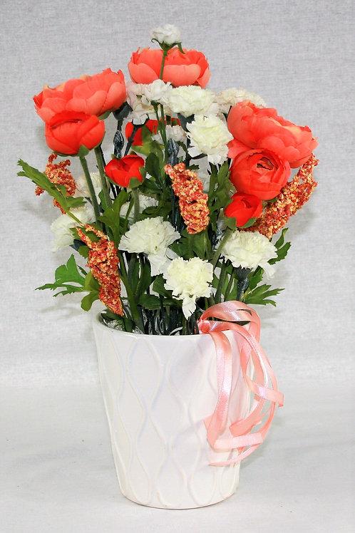 Small White Vase with Orange Flowers