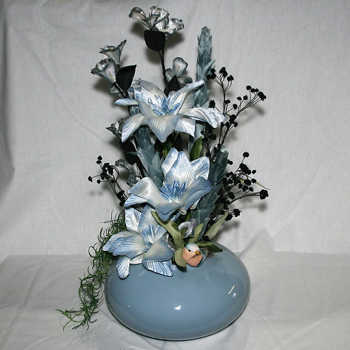 Blue Round Vase with Blue Flowers