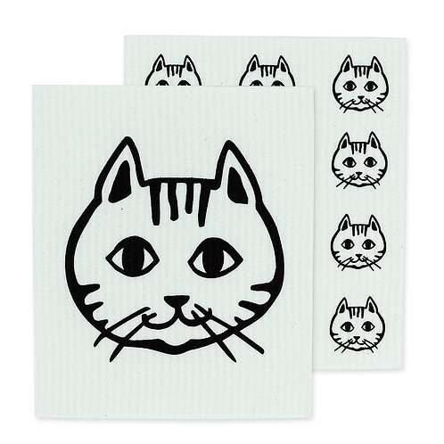 Cat Face Swedish Dishcloths - Set of 2