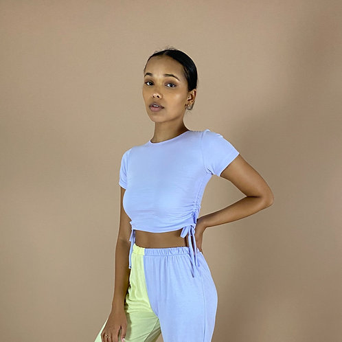Blast From The Pastel: Short Sleeve Ruched Crop Top