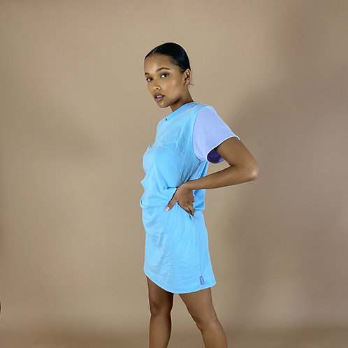 Blast From The Pastel: Half & Half T-Shirt Dress (Multiple Sleeve Lengths)