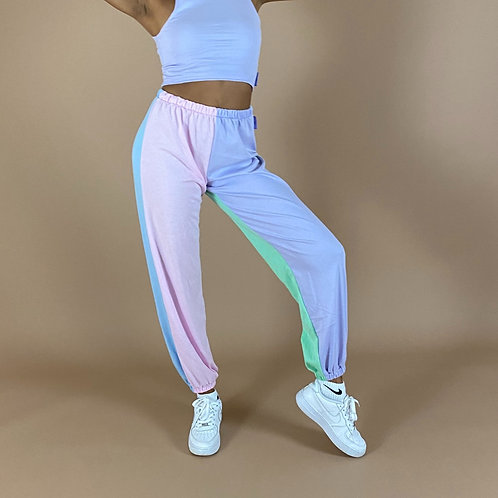 Blast From The Pastel: 4 Way Colour Block Joggers