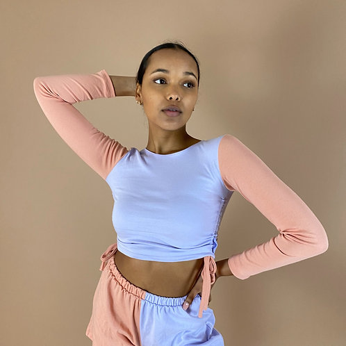 Blast From The Pastel: Half & Half Long Sleeve Ruched Crop Top