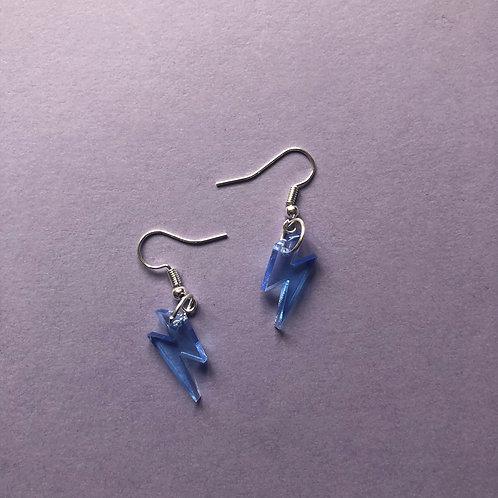 Struck By Lightning Earrings - Blue