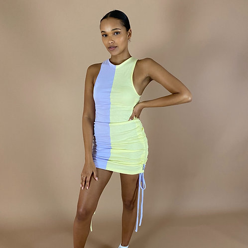 Blast From The Pastel: Half & Half Ruched Racer Dress