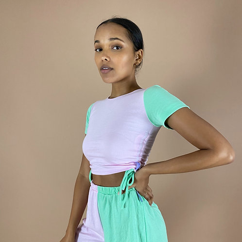 Blast From The Pastel: Half & Half Short Sleeve Ruched Crop Top