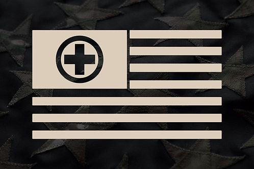 AMERICAN FLAG (MEDICAL CROSS) STICKER