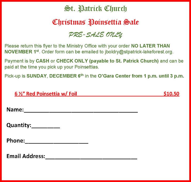 Bulletin Ad for Poinsettia Fundraiser Or
