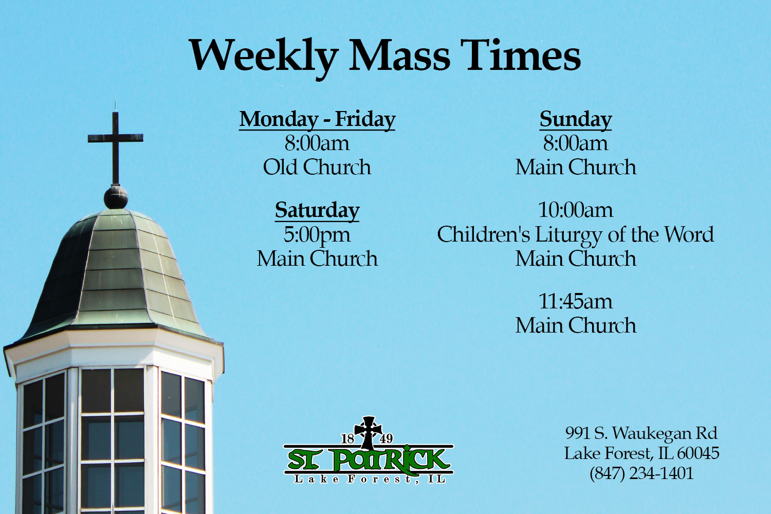 Mass Times at St. Patrick Church