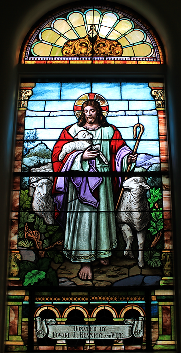 Edward J. Kennedy, Rose Anna Redmond Kennedy, Illinois Route 60, Kennedy Road, Lake Forest, Illinois, St. Patrick Church, The Good Shepard Stained Glass Window