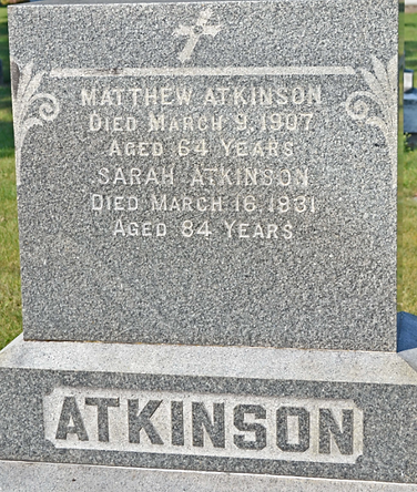 Matthew Atkinson, Sarah Ann Nolan Atkinson, St. Patrick Cemetery, Lake Forest, Illinois