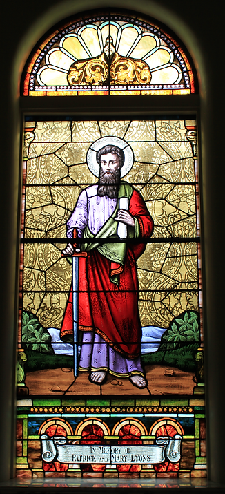 St. Paul Stained Glass Window, Patrick Lyons, Mary Lyons, St. Patrick Church, Lake Forest, Illinois