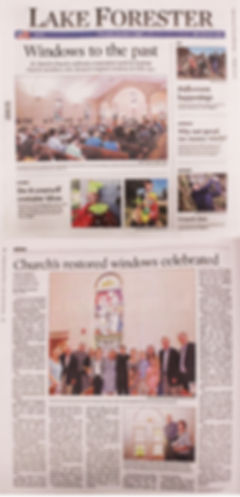 St. Patrick Church, Lake Forest, Illinois, Stained Glass Window restoration, Stained Glass Window Event, Lake Forester newspaper, Timothy Klunder, Michael Meehan, Mary O'Connor, Thomas Yore, Michael Yore, Lake Forest History, West Lake Forest, Oldest Church in Lake Forest