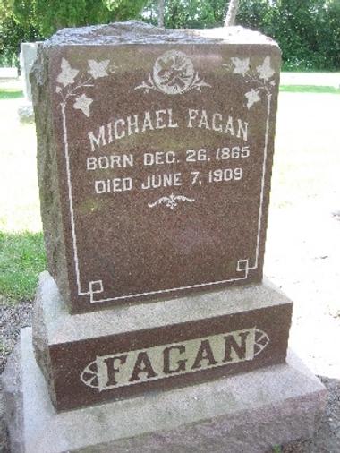 Michael Fagan, St. Patrick Cemetery, Anna L. Redmond Fagan