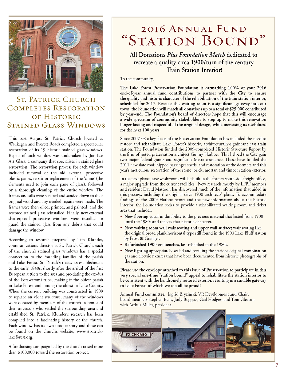 St. Patrick Church, Lake Forest, IL, Stained Glass Window Restoration, Tim Klunder, Michael Meehan, Michael Yore, James O'Connor, Thomas Yore, Edward J. Kennedy, History of Lake Forest, West Lake Forest History, Lake Forest Preservation Foundation