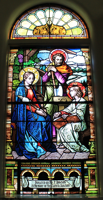 Peter Dawson, Catherine Dawson, St. Patrick Church, Lake Forest, Illinois, The Holy Family Window