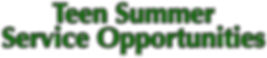 Teen Summer Service Opportunities