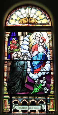 Saint Dominic Window, Thomas Doyle, Ellen A. Melody Doyle, Patrick Melody, John Doyle
