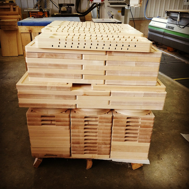 Skid of CNC Cut Wood Butcher Boards