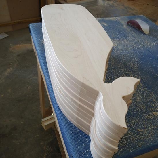 CNC Cut Wood Whale Board