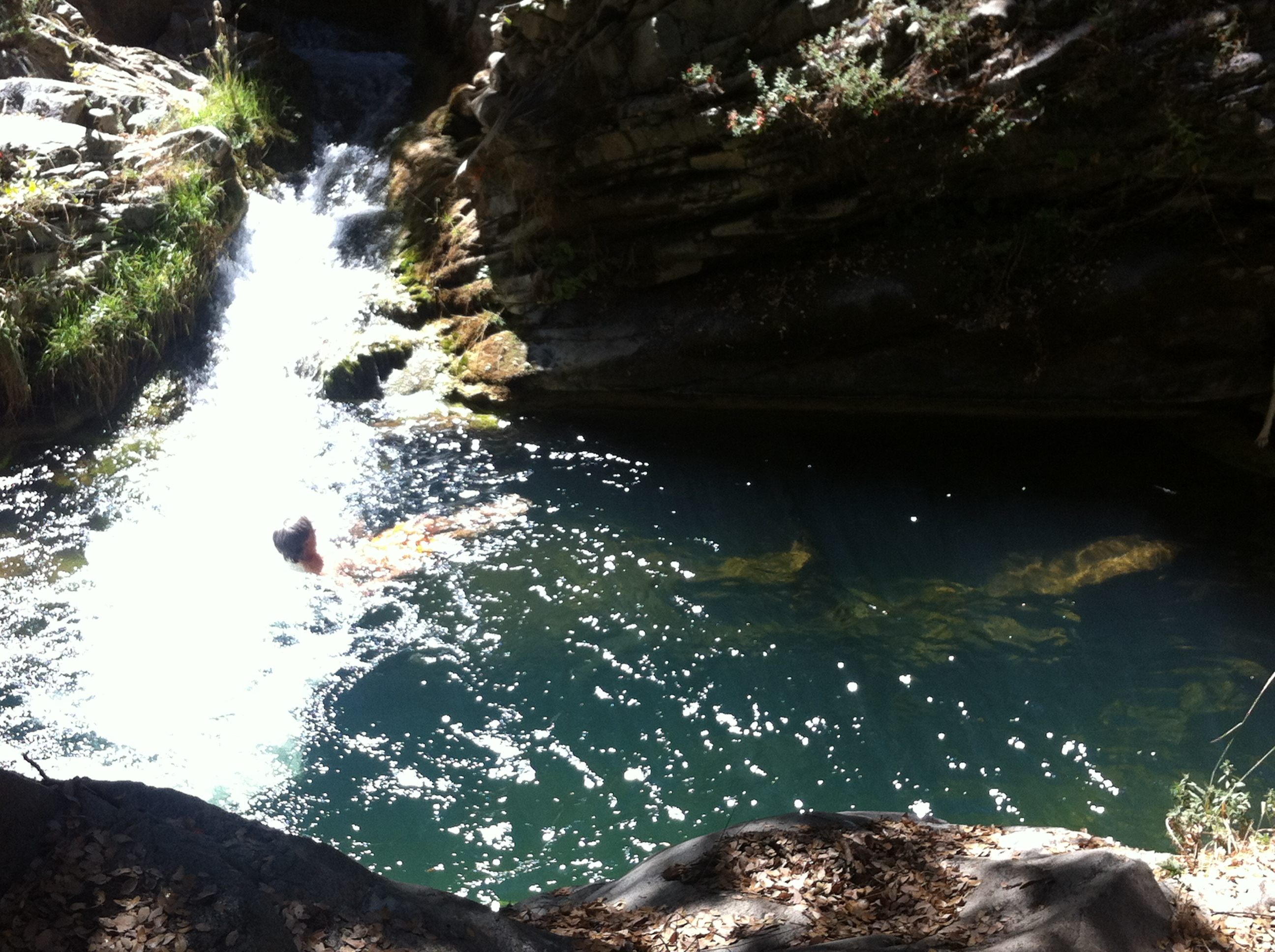 Swimming in the crystal clear waters of the Tule River nearby Sequoia Meadows.
