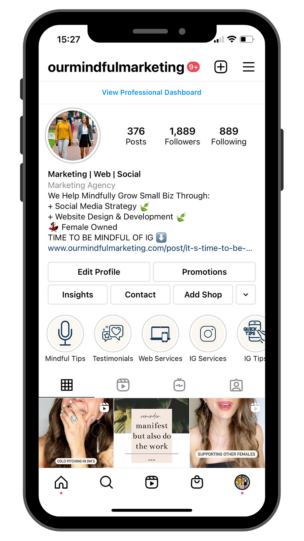 An image of a screenshot the main feed of @ourmindfulmarketing's profile on Instagram.