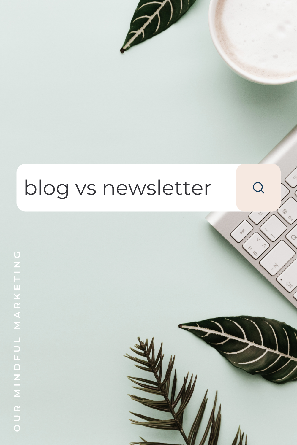 """A template of an image with a cappuccino, the edge of a keyboard and green leaves in the background. In the foreground of the image is a search bar from a search engine with text in the search bar that states, """"blog vs newsletter."""""""