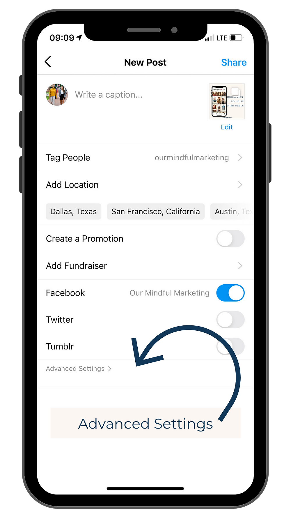 Image of a screenshot of the 'Advanced Settings' feature or also known as technology applications in the Instagram settings when drafting a new post. Displayed from the profile of @ourmindfulmarketing