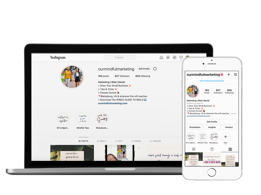 A screenshot image of the profile of Our Mindful Marketing on Instagram.