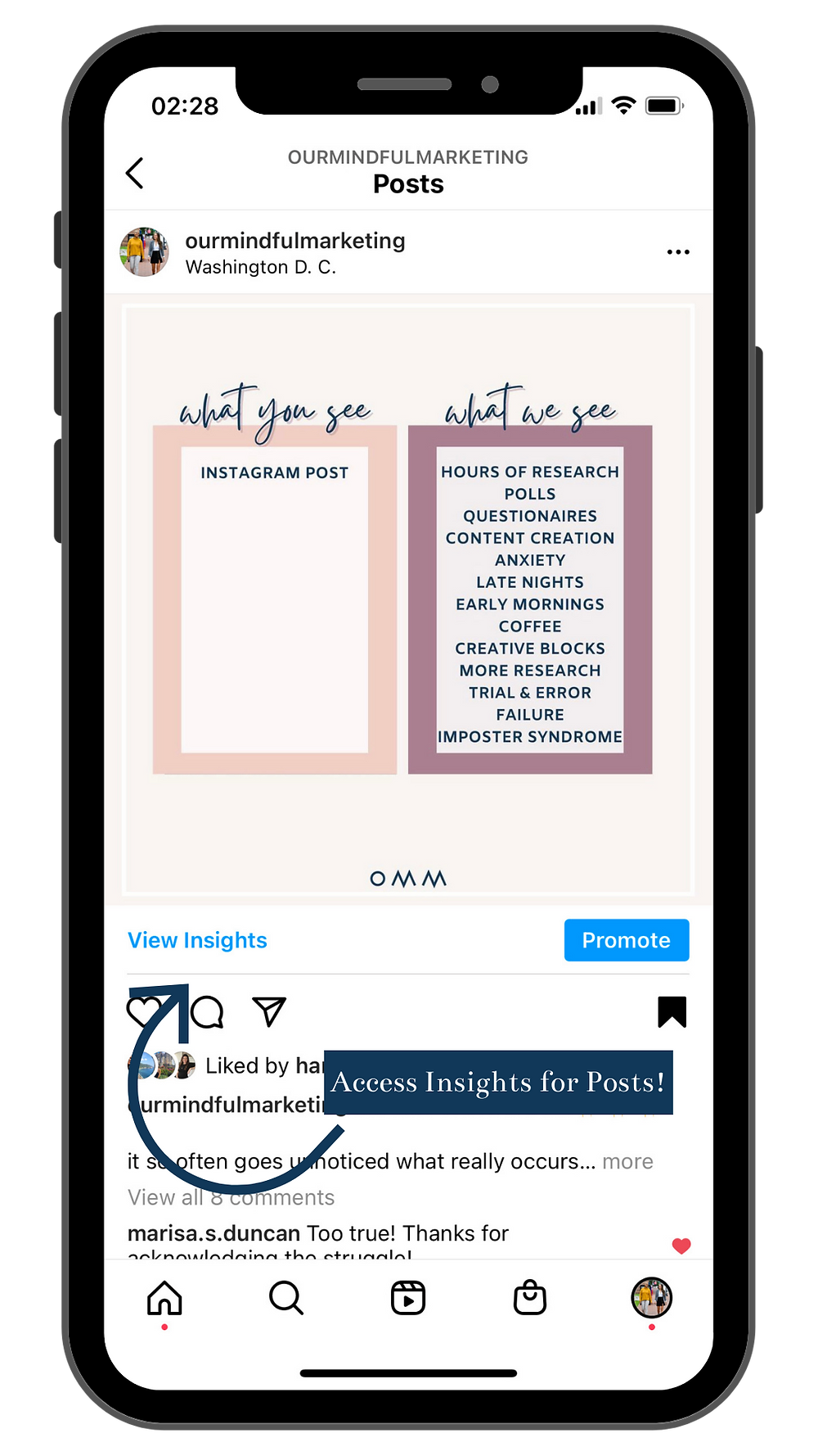 A screenshot image of Instagram insights. Shared by Our Mindful Marketing.