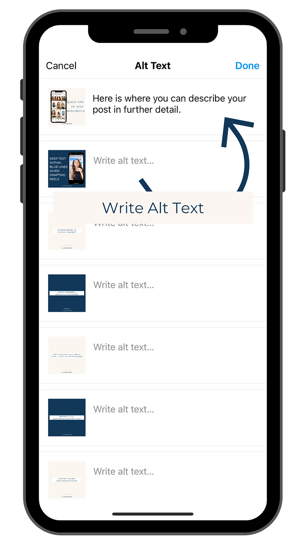 Image of a screenshot of the 'Write Alt Text' feature or also known as technology applications in the Instagram settings when drafting a new post. Displayed from the profile of @ourmindfulmarketing