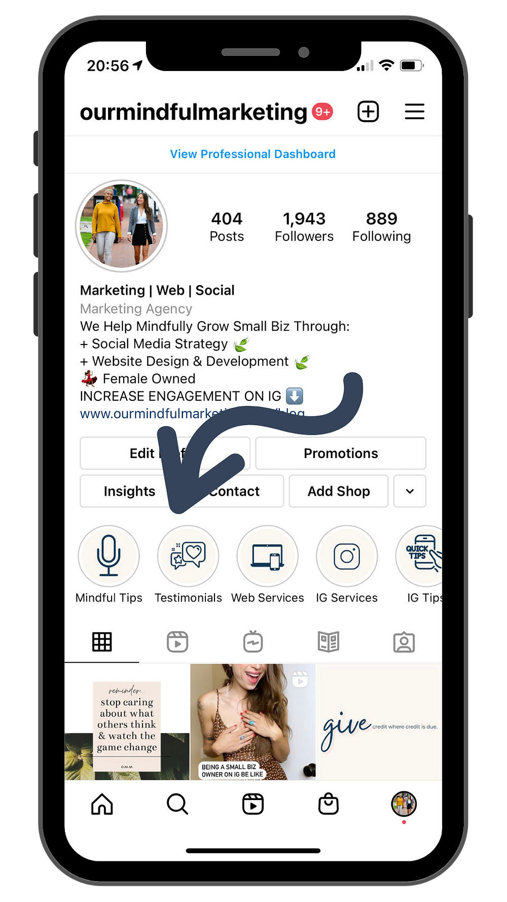 """A screenshot image of the Instagram profile of @ourmindfulmarketing with an arrow specifically pointing to the """"Testimonials' in the Instagram Highlights."""