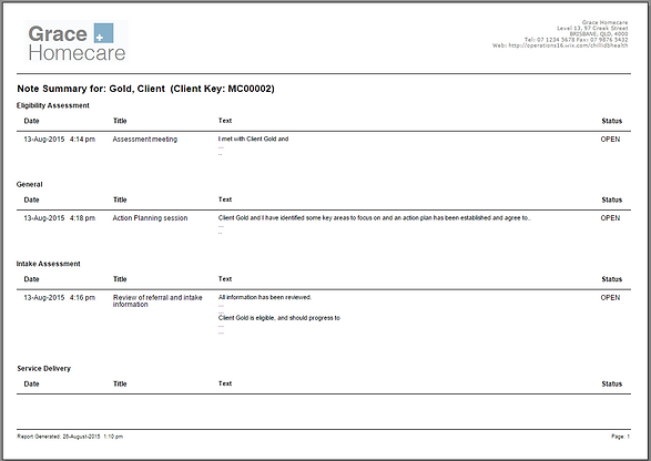 Client Administration - Report - Note Su