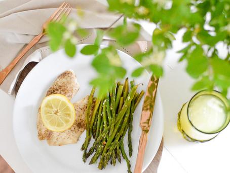 Sheet Pan Lemon Pepper Tilapia + Garlic Asparagus