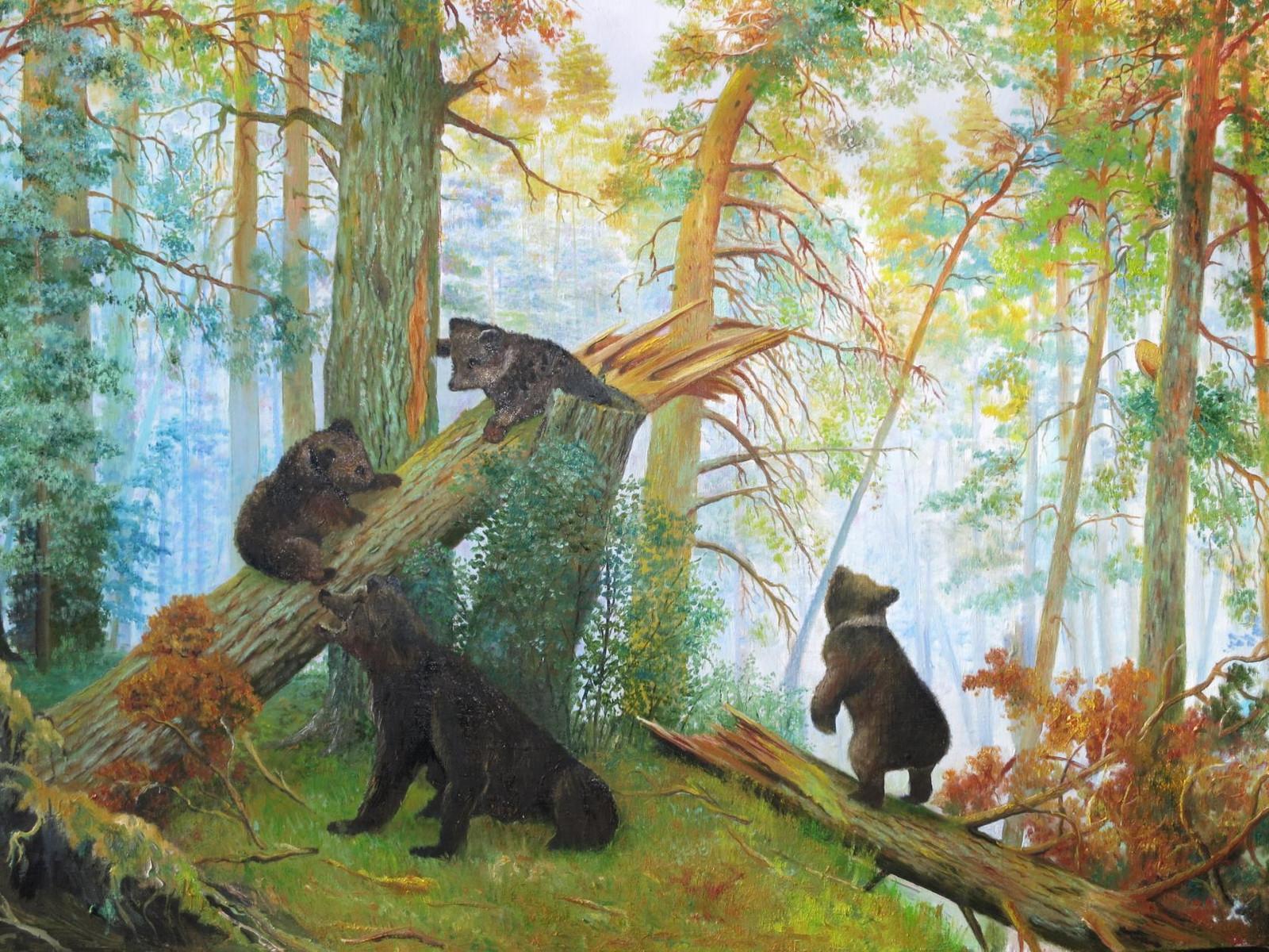 Смешное картинки, открытка шишкин утро в сосновом лесу