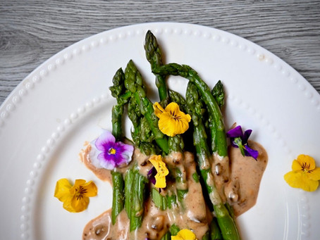 Asparagus & Black Garlic Bechamel Sauce