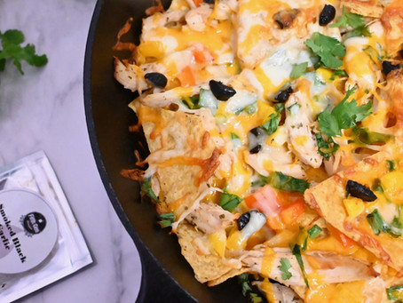 BBQ'd Chicken Nachos with Smoked Black Garlic