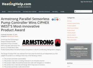 Armstrong Parallel Sensorless Pump Controller Wins CIPHEX WEST'S Most-Innovative Product Award